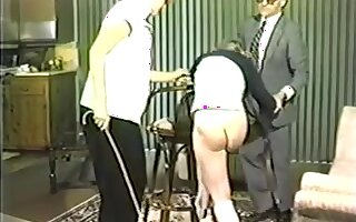 Slutty babes enjoy some caning and spanking